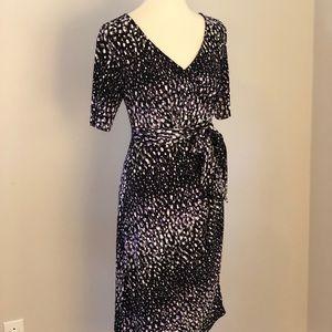 Motherhood Maternity- purple & black wrap dress